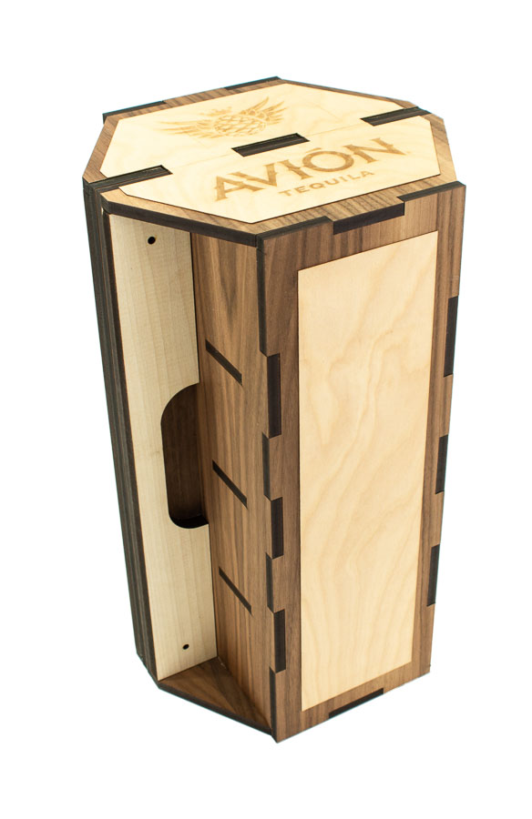 Avion Gold And Wood Bottle Box-1