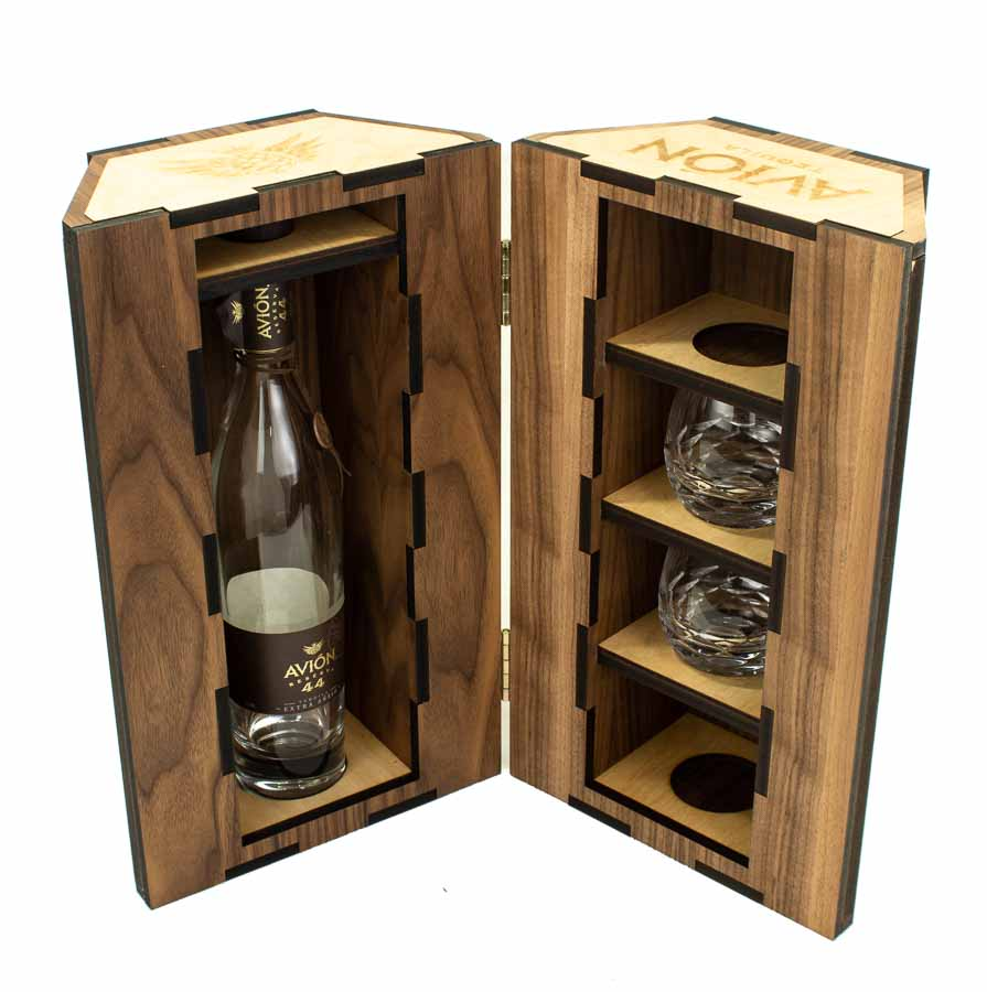 Avion Gold And Wood Bottle Box-4