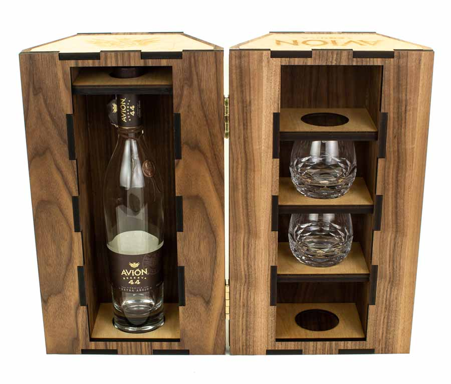 Avion Gold And Wood Bottle Box-5