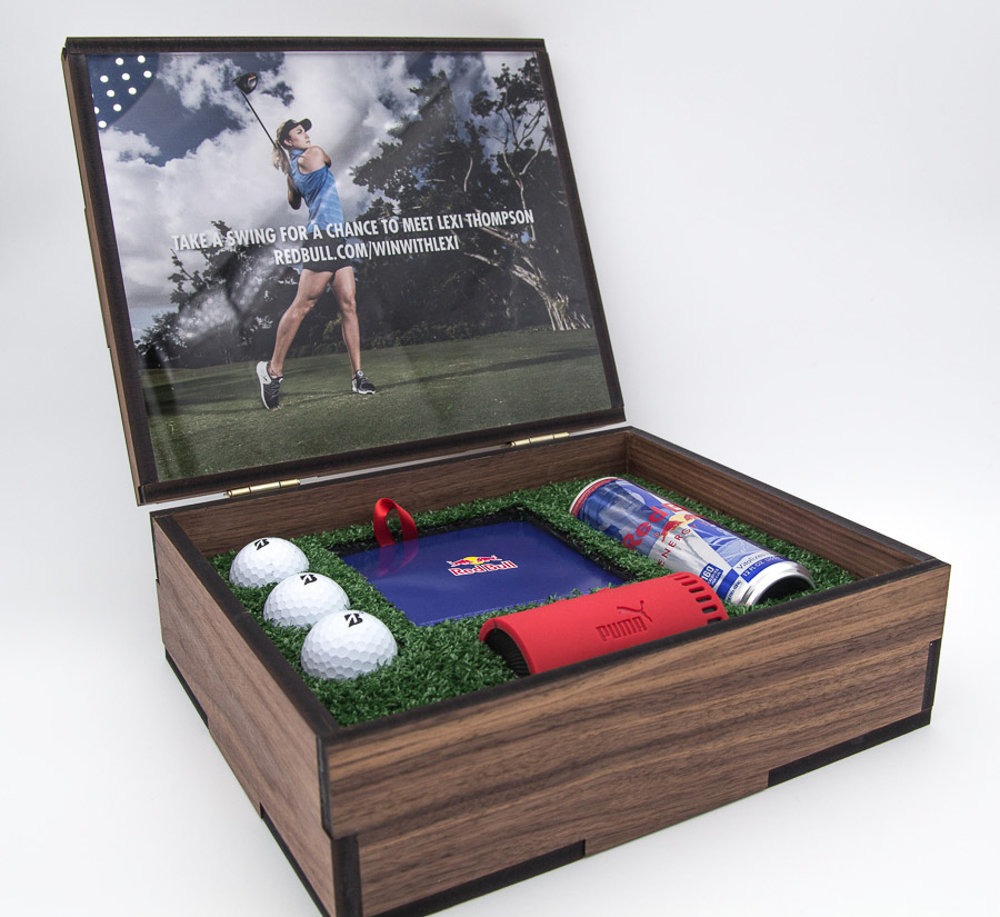 Custom Golf Gift Box With Turf And Gold Balls